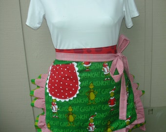 Aprons - Dr Seuss Aprons - Christmas Half Aprons - Dr. Seuss Apron - Grinch Christmas Apron - 1957 Dr. Seuss Enterprises - Holiday Aprons