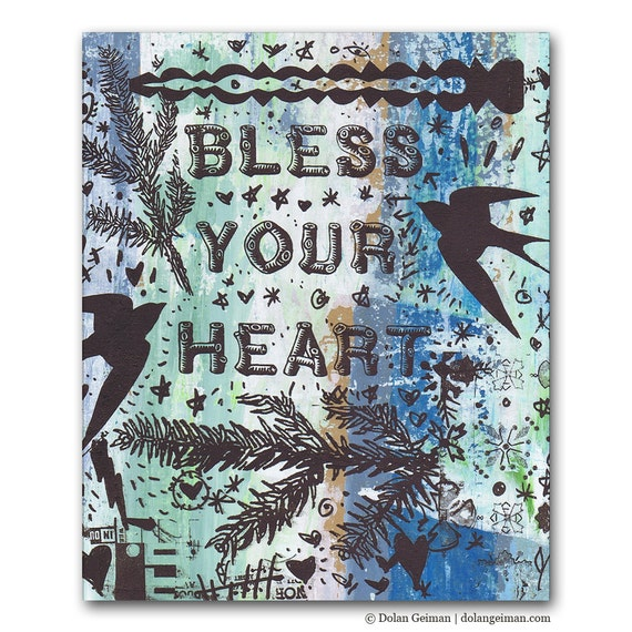 Southern Sayings, Bless Your Heart, Panel Painting, Original Painting