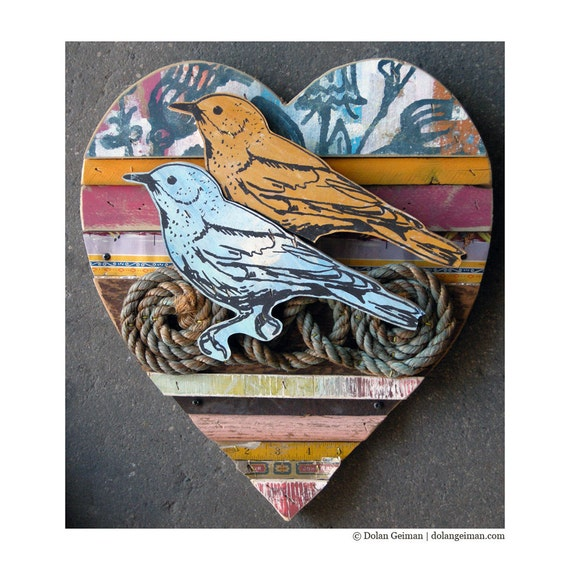 Bluebird and Canary Heart, Lovebird Collection, Reclaimed Wood Assemblage Wood Anniversary Gift by Dolan Geiman