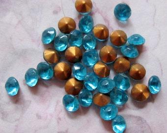 100 pcs. vintage glass fire polished aqua rhinestones ss18 - f3018