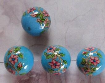 10 pcs. Vintage blue floral flower print plastic beads 12mm - r134