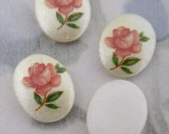 10 pcs. vintage floral rose print plastic cabochons 10x8mm - f2911