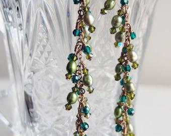 Chandelier Emerald Pearl Earrings - Bridal Chandelier Swarovski Crystal Freshwater Pearl Earrings