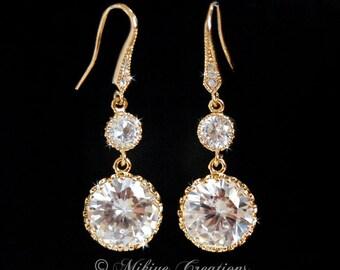 Wedding Earrings, Bridal Jewelry, Bridal Drop Earrings, Bridal Chandelier Swarovski Crystal Cubic Zirconia Drop Earrings - Dangling Droplets