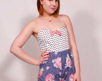 Denim, Rose, and Polka Dots Tank Top Playsuit MADE TO ORDER