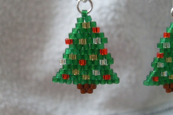 Brick Stitch Beaded Christmas Tree Earrings