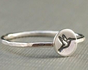 Hummingbird Ring , Hummingbird Jewelry , Sterling Silver Ring