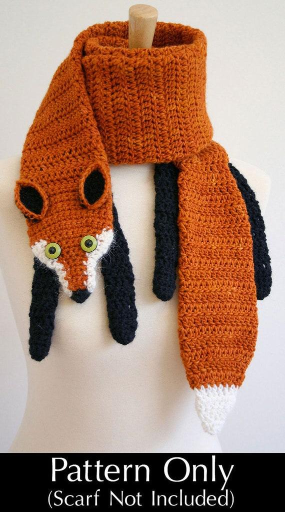 PDF Crochet Pattern for Fox Scarf - DIY Fashion Tutorial