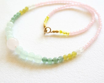 Gemstone Necklace, Jade and Pastel Color Block with Pink Quartz