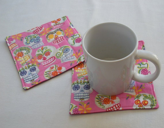 Day of the Dead Quilted Coffee Coaster or Mug Rug, Set of 2