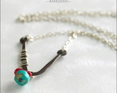 Sterling Silver & Reclaimed Copper Necklace With Turquoise And Red Coral Beads - Jewelry by Jason Stroud