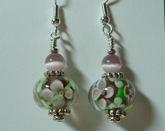 Pale Amethyst and White Floral Glass Earrings on Silver