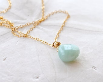 Amazonite Necklace. Edisto Collection. Gold Filled Chain. Bridesmaids Necklace.
