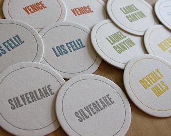 LOS ANGELES Letterpress Neighborhood Coasters (Pack of 10)