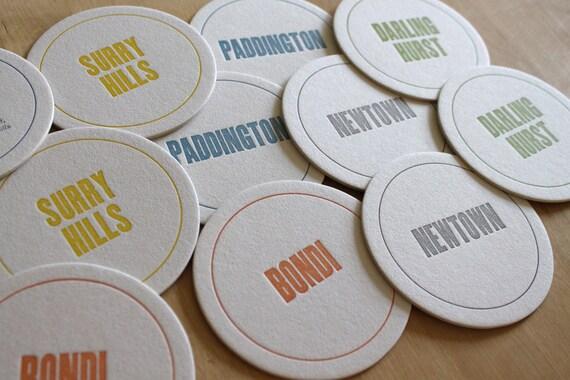 SYDNEY Letterpress Neighborhood Coasters (Pack of 10)