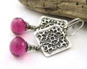 CLEARANCE Handmade Square Earrings Hot Pink Gemstone Fucshia Quartz - Amy No. 2