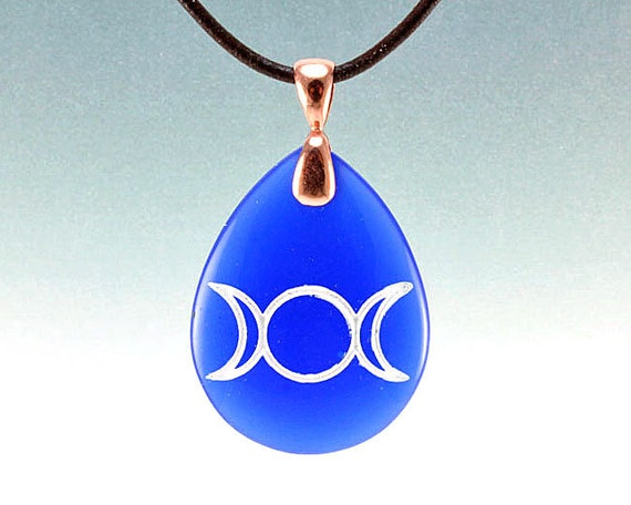 Triple Goddess - Etched Blue Glass Pendant Necklace