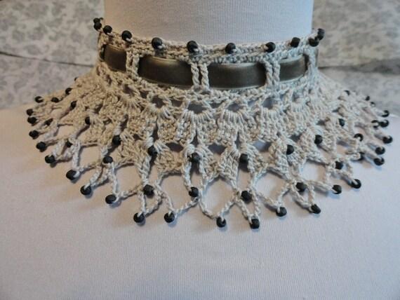 Gray Victorian Steampunk Lace Crochet Beaded Choker