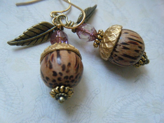 Woodsy Acorn Earrings, Woodland Jewelry, Nature Jewelry, Autumn, Gold, Wood