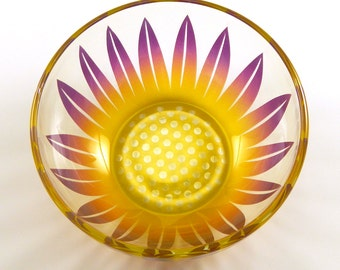 Wildflower -  Glass Soup Bowl - Etched and Painted Glassware - Custom Made to Order