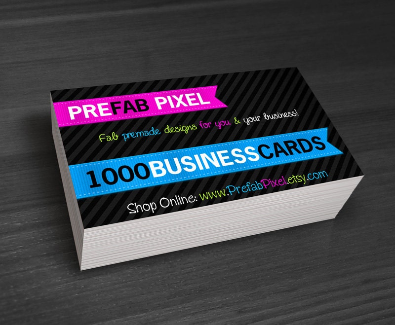 1000 business cards printing only by prefabpixel on etsy for Business cards 1000