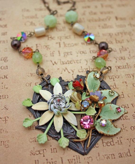 Enamel Flower Statement OOAK Necklace