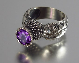 RESERVED for R. 3rd payment - BLOOMING THISTLE silver ring with Amethyst