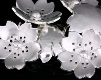 4KH-003 thai karen hill tribe silver 2 flower charm