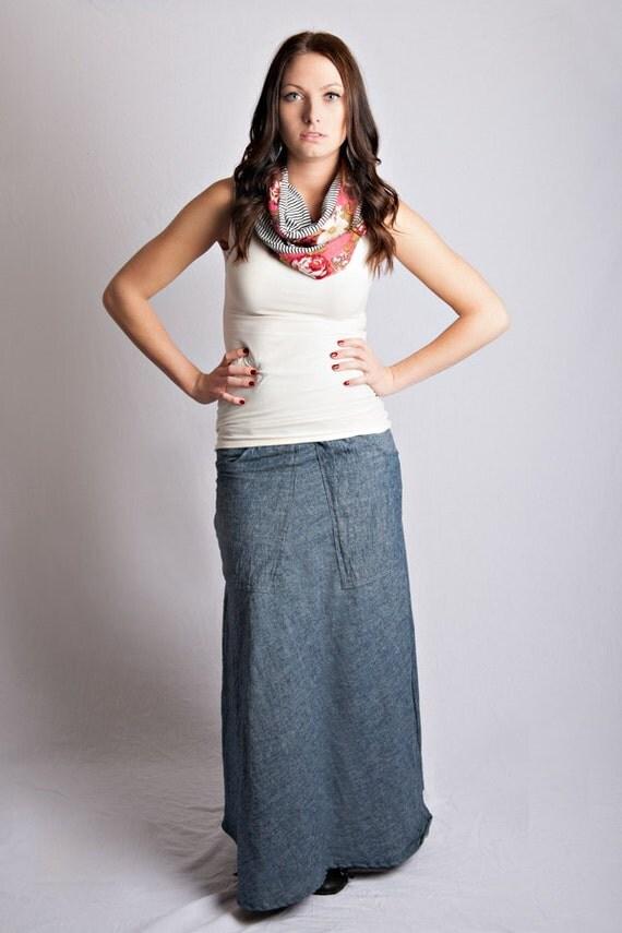 items similar to hemp denim pocket maxi skirt on etsy