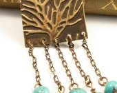 TREE of LIFE - Embossed Artisan Brass Turquoise Necklace