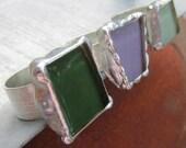 Sage, Green, Light Purple Glass Rings on Adjustable Wide Band by Heidi Urbanski on Etsy