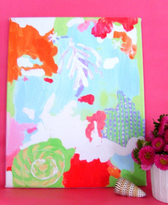 PATCHOULI SEAS ABSTRACT on stretched canvas 16x20