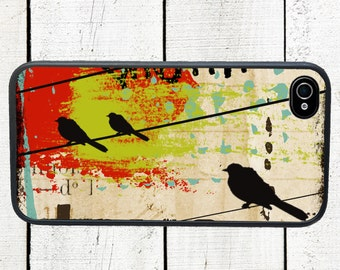 iphone 6 case Abstract Bird Collage iPhone 4 Case, fits iPhone 4 and 4s, Birds on Wire - iPhone 5 Case - Galaxy s3 s4 s5