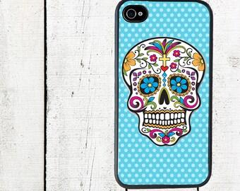 iphone 6 case Blue Polka Dot Sugar Skull Cell Phone Case - Day of the Dead iPhone Case - iPhone 4, 4s - iPhone 5 Case - Galaxy s3 s4 s5
