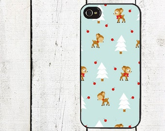 Blue and Red Reindeer Phone Case, Holidayfor iPhone 4 4s 5 5s 5c SE 6 6s 7  6 6s 7 Plus Galaxy s4 s5 s6 s7 Edge