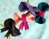 Felt Bow Hair Clip . Teal and Fuschia