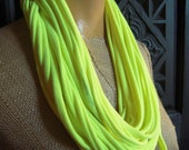 Neon Yellow Jersey Scarf Upcycled Layered Tshirt Scarf Necklace