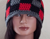 SALE Red, Black, and Gray Gingham/Plaid Beanie