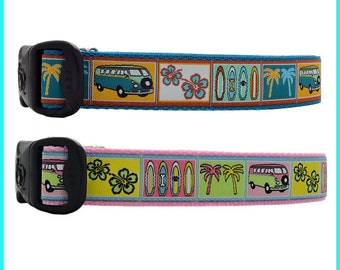 Retro Volkswagen Surfboards Hibiscus Flower & Palm Trees Dog Collar