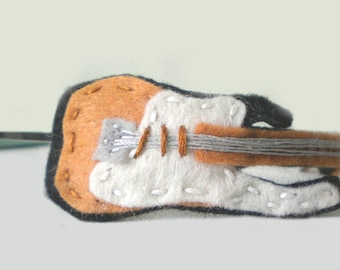Embroidered Felt Guitar Headband - Brown and White with Silver Strings and Metal Headband