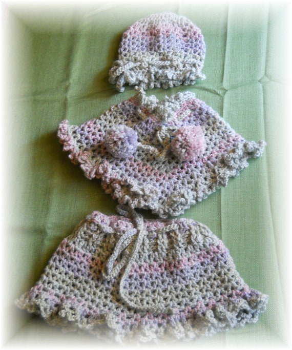 Toddler Crochet Skirt, Poncho, Hat Girl Three Piece Outfit