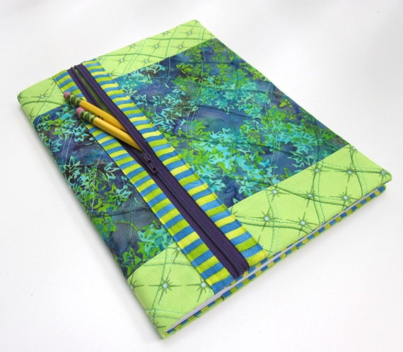 Fabric Covered Blank Book Notebook / Lined Journal - Blue and Chartreuse