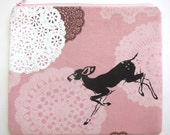 Pouch Fawn and Lace on Pink Doily Linen