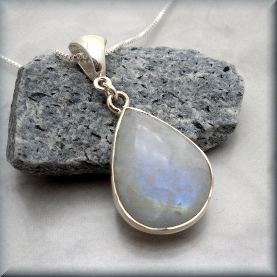 white moonstone necklace sterling silver gemstone by