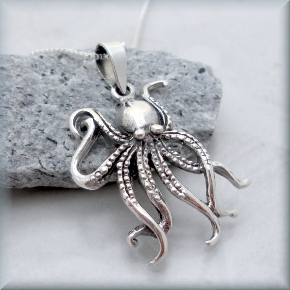 octopus necklace sterling silver pendant marine by
