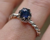 Rose Cut Natural Blue Sapphire Ring in Argentium Sterling Silver