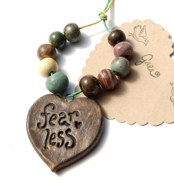 Be Fearless / Chocolate Ceramic Pendant and Bead Set
