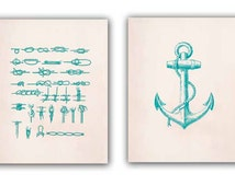 Ocean Prints, Print 11x14, Set of 2 in green turquoise, Marine Knots, Nautical Anchor, Nautical Coastal Prints, Seaside living