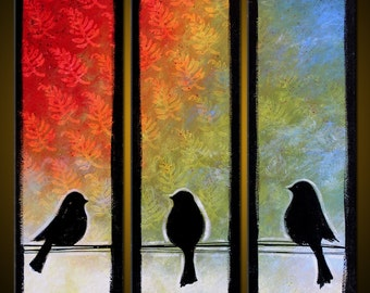 Original Large Abstract Modern Contemporary Garden Birds ... 30 x 30 ... 3 canvases, ready to display