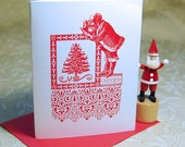 Vintage Santa Letterpress Christmas Holiday Card